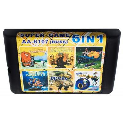 Картридж Sega 16 bit 6 в 1 Earthworm Jim/ Double Dragon 1-2