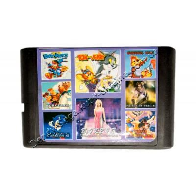 Картридж Sega 16 bit 8 в 1 Barbie/ Sonic-2/ Squirrel King