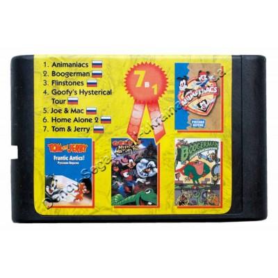 Картридж Sega 16 bit Animaniacs/ BoogerMan/ Flinstones/ Tom and Jerry