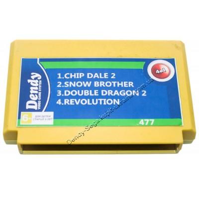 Картридж Dendy 8 bit Chip Dale-2/Double Dragon-2/Revolution/Snow Brother