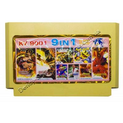 Картридж Dendy 8 bit  MK4+5, Tenis, Road Fighter, Tank 90, Dr Mario, Pac man, Spiderman