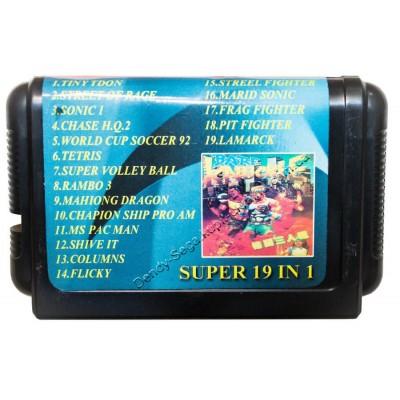 Картридж Sega 16 bit 10 (19) в 1 Tiny Toon/ Sonic