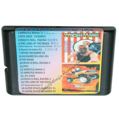 Картридж Sega 16 bit 6 (19) в 1 Wrestle Mania/ FIFA 2003