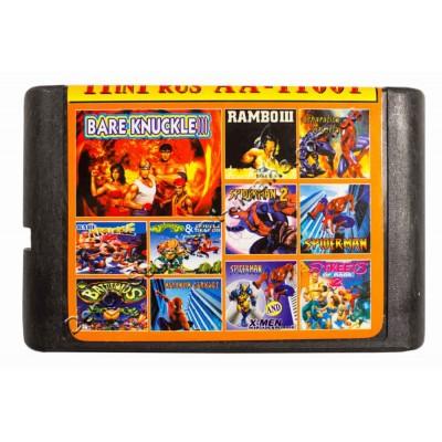Картридж Sega 16 bit Battletoads-1-2/ Streets Rage-1-2-3/ Spider Man 1-2-3-4-5