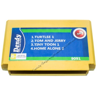 Картридж Dendy 8 bit Turtlse-1/Tom And Jerry/Tiny Toon/Home Alone-2