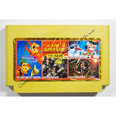 Картридж Dendy 8 bit Chip Dail 2, Snow Bros, Silk Worm, Dungeon