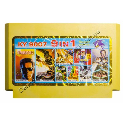 Картридж Dendy 8 bit Terminator 2, MK5, Soccer, Pokemon, Arkanoid, k19, Dragon Strike, Powerpull Girl
