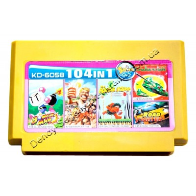 Картридж денди (104 в 1) Adventure Island/ Bomberman/ Burgertin/ Galaxian/ Road Fighter