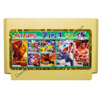 Картридж Dendy 8 bit Contra 2, Final Fighter, Road Fighter,  Mario Bros, Wrestle, Spiderman 2, Pocket Tetris