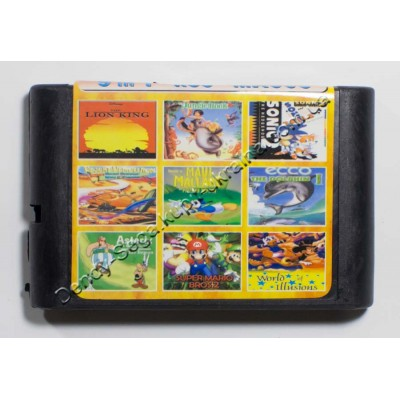 Картридж Sega Mega Drive 16 bit Lion King/ Jungle Book/ Sonic 2/ Desert Demolition/ Maul Mallaru/ Asterix/ Super Mario Bros 2/ Ecco/ Mickey: World of Illusion