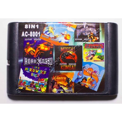Картридж Sega Mega Drive 16 bit MK/ Comix Zone/ Road Rash 3/ Contra/ Power Rangers/ Aladdin/ Super Mario/ Asterix