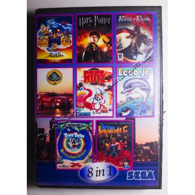Картридж Sega Mega Drive 16 bit Aladdin/ Lotus 2/ Prince of Persia/ Harry Poter/ Mr Nutz/ Ecco/ Tiny Toon/ Streets of Rage (Bare Knuckle)