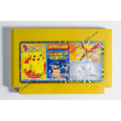 Картридж Dendy 8 bit Pokemon Yellow, Pokemon Blue, Pokemon  Red, Pokemon Silver