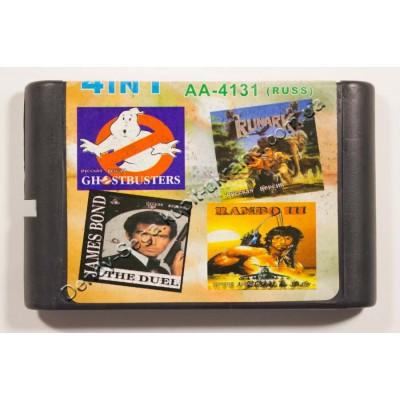 Картридж Sega Mega Drive 16 bit Ghostbusters/ Runark/ Rambo 3/ James Bond:The Duel