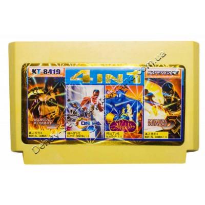 Картридж Dendy 8 bit Contra 2, Mortal 4+5, Aladdin 3