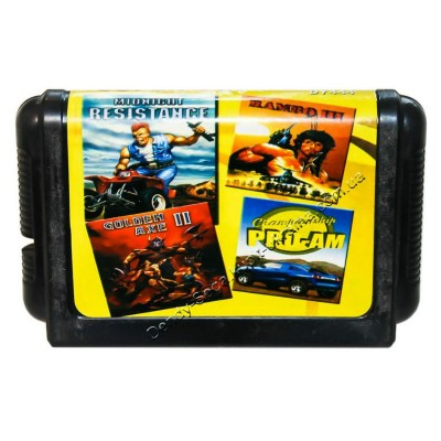 Картридж Sega 16 bit Midnicht Resistange/ Rambo-3/ Golden Axe-2/ Championship Pro Am