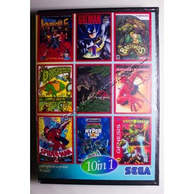 Картридж Sega Mega Drive 16 bit Streets of Rage (Bare Knuckle)/ Batman Return/ Battletoads/ BoogerMan/ Jurassic Park/ Soldiers of Fortune/ Spider Man 2: Animated/ Superman 2/ Turtles/ VectorMan
