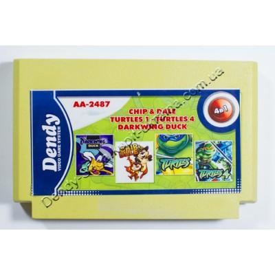 Картридж Dendy 8 bit Darkwing Duck/ Chip Dale/ Turtles 1+4