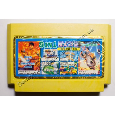 Картридж Dendy 8 bit Jungle Book, King of Fighter, Golf, Tiny Toon 3, Aladdin 2, Super Mario