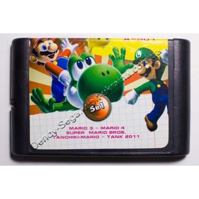 Картридж Sega Mega Drive 16 bit Mario 3+4/ Mario Bros/ Mario Dendy/ Tank 2011/ Battle City