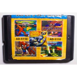 Картридж Сега 5 в 1 Battletoads 2/ MK5/ Micro Machines