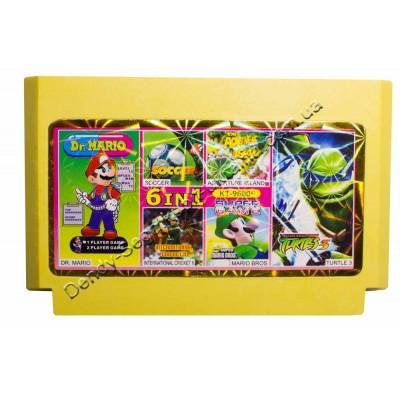 Картридж Dendy 8 bit Turtles 3, Soccer, Dr Mario, mario Bros, Cricket, Adventure Island
