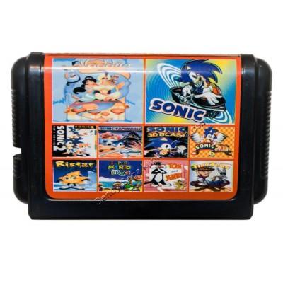 Картридж Sega 16 bit 10 в 1 Aladdin/ Sonic-1-2