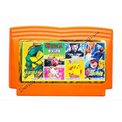 Картридж Dendy 8 bit Turtlse-4/X-Man-2/Pokemon Yellow/Pokemon World