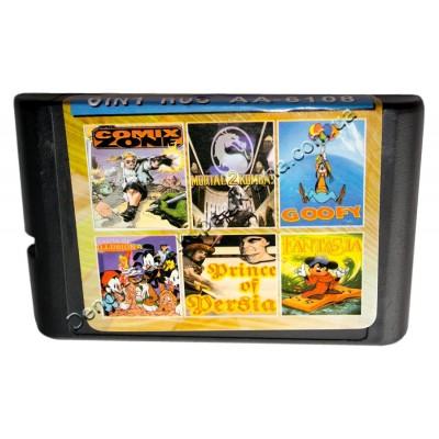 Картридж Sega 16 bit 6 в 1 Comix ZONE/ Mortal Kombat-2/ Prince of Persia