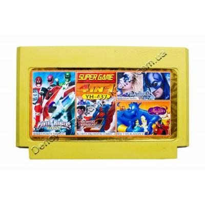 Картридж Dendy 8 bit Power Rangers/Mortal Kombat-4/Batman/Aladdin-3