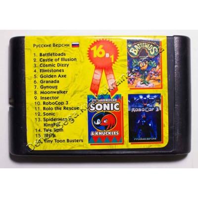 Картридж Sega Mega Drive 16 bit Battletoads/ Mickey: Castle of Illusion/ Dizzy/ Flinstones/ Golden Axe/ Granada/ Gynoug/ Moonwalker/ Insektor/ Robocop 3/ Rolo Rescue/ Sonic/ Spider Man/ Tale Spin/ Tetris/ Tiny Toon