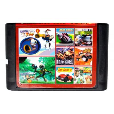 Картридж Sega 16 bit 8 в 1 Earthoworm Jim 1+2/ Road Rash 1+2+3/ Rockn Roll Racing
