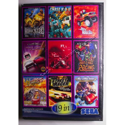 Картридж Sega Mega Drive 16 bit Rockn Roll Racing/ Road Rash/ Road Rash 2/ Road Rash 3/ Top Gear 2/ Lotus Turbo Challenge/ Lotus 2/ Chase HQ 2/ F1/ Turbo Outrun/ Road Blasters/ Super off Road/ Micro Machines/ Street Racer/ Pro Am/ Outlander/ Super Hang On