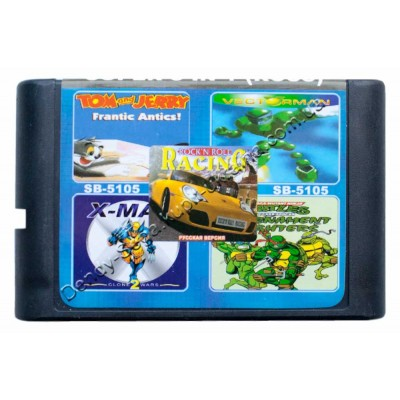 Картридж Sega 16 bit Rockn Roll Racing/ Turtle Fighter/ X-Man/ VectorMan