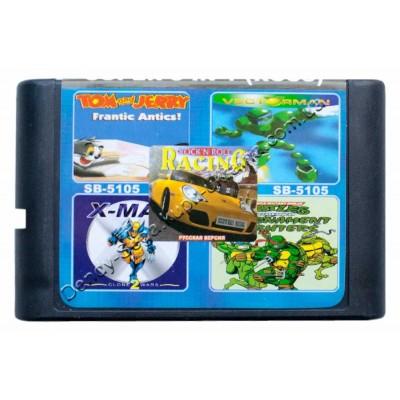 Картрідж сега 5 в 1 Rockn Roll Racing/Turtle Fighter/X-Man/VectorMan