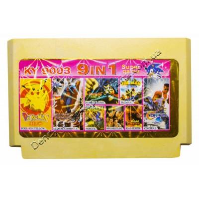 Картридж Dendy 8 bit Contra 2, MK4, Road Fighter, Pac Man, Pokemon Yellow, Popeye, Wrestle, Donkey Kong