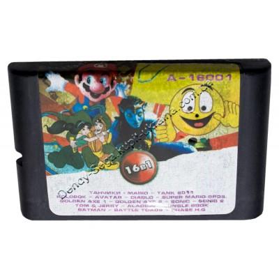 Картридж Sega 16 bit 16 в 1  Tanki (Dendy)/ Super Mario (Dendy)