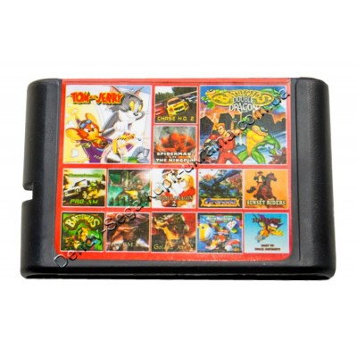 Картридж Sega 16 bit 14 в 1 Tom and Jerry/ Battletoads Double Dragon