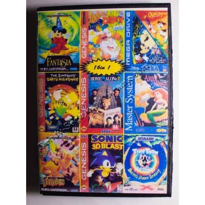 Картридж Sega Mega Drive 16 bit Sonic/ Tiny Toon/ Ariel Mermaid/ Tale Spin/ Flinstones/ Home Alon 2/ Taz Mania/ Quck Shot/ Simpsons/ Ghost Busters/ Polo/ Mickey: Castle of Illusion/ Dizzy/ Mickey: Fantasia/ Championship Pro