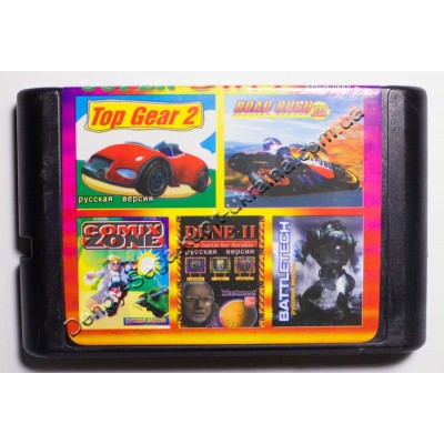 Картридж Sega Mega Drive 16 bit Comix Zone/ Batteltech/ Dune 2/ Road Rash 3/ Top Gear 2
