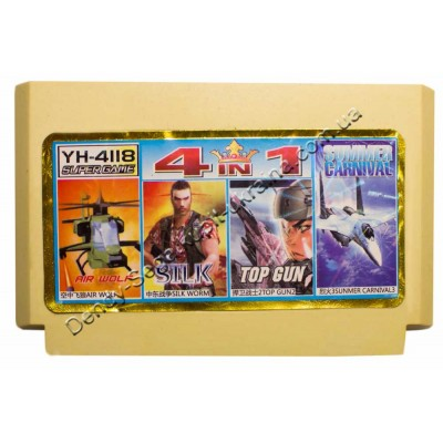 Картридж Dendy 8 bit Air Wolf, Silk Worm, Top Gun 2, Sunmer Carnival 3