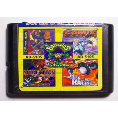 Картридж Sega Mega Drive 16 bit Comix Zone/ Contra/ Rockn Roll Racing/ Battletoads/ Spider Man