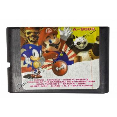 Картридж Sega 16 bit Super Mario (Dendy)/ Tanki (Dendy)/ Battletoads/  Sonic