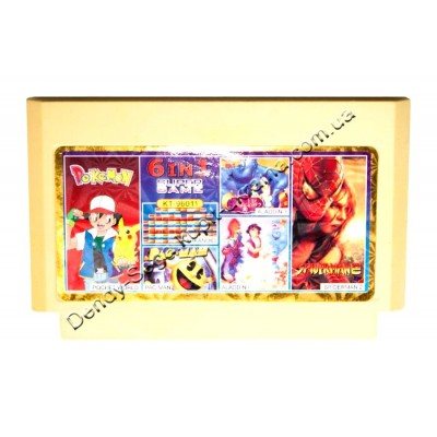 Картридж Dendy 8 bit Aladdin-1-3/Spiderman-2/Pac-Man/Pocket World/Arkanoid