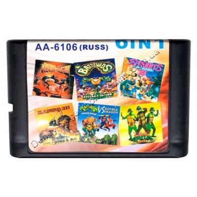 Картридж Sega 16 bit 6 в 1