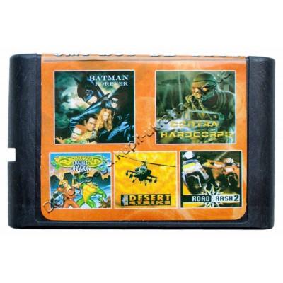 Картридж Sega 16 bit Battletoads-2/ Contra/ Batman Forever/ Road Rash-2