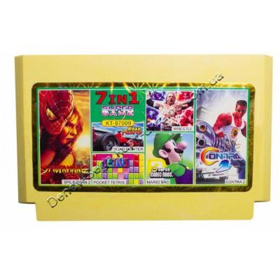 Картридж Dendy 8 bit Contra 2, Spiderman 2, Road Fighter, Mario Bros, Wrestle, Pocket Tetris