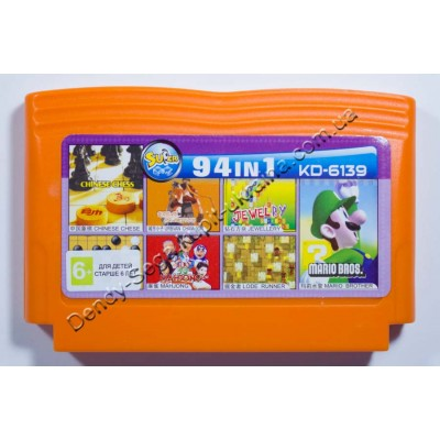 Картридж Dendy 8 bit 94 Mario Bros/ Lode Runner/ Jewellery