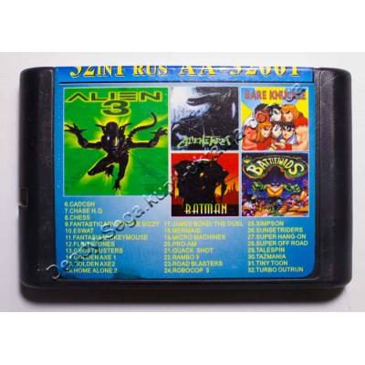 Картридж Sega Mega Drive 16 bit Alien 3/ Alien Storm/ Battletoads/ Batman/ Streets of Rage/ Cadcsh/ Chess/ Dizzy/ Eswat/ Flinstones/ Ghost Busters/ Golden Axe/ Golden Axe 2/ Home Alon 2/ James Bond:The Duel/ Micro Machines/ Pro Am/ Road Blasters/ Robocop