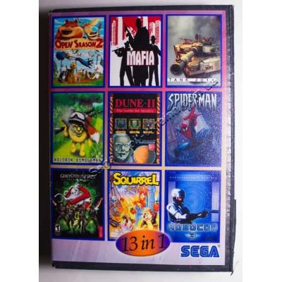Картридж Sega Mega Drive 16 bit Open Season 3/ Dick Tracy/ Tank 2011/ Kolobok/ Bomberman/ Dune/ Spider Man/ Ghost Busters/  Squirrel King/ Batman/ Battletoads/ Flinstones/ Robocop 3